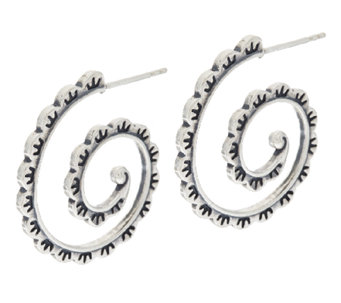 Scalloped Design Sterling Hoop Earrings by American West - J320510