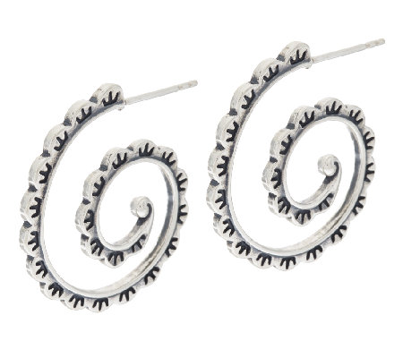 Scalloped Design Sterling Hoop Earrings by American West