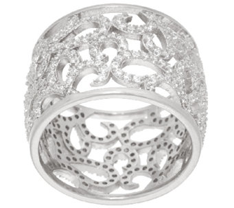 Vicenza Silver Sterling Crystal Scroll Design Band Ring - J321210