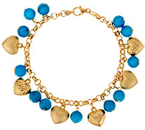 """As Is"" VicenzaGold 8"" Turquoise & Heart Charm Bracelet, 14K - J321310"
