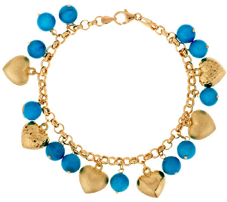 """As Is"" Italian Gold 8"" Turquoise & Heart Charm Bracelet, 14K"