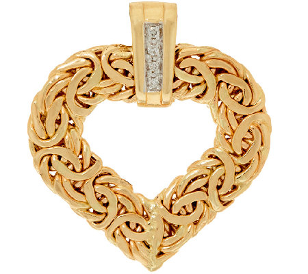 14K Gold Heart Byzantine Pendant w/ Diamond Accents