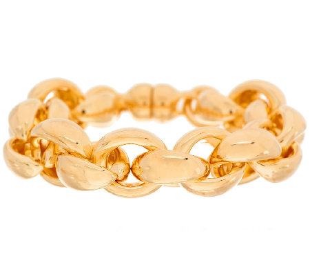 """As Is"" Oro Nuovo 7-1/4"" Status Rolo Link Bracelet, 14K"