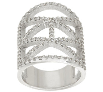 Vicenza Silver Sterling Diamonique Deco Design Ring - J322710