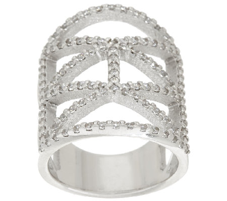 Vicenza Silver Sterling Diamonique Deco Design Ring