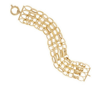 """As Is"" Veronese 18K Clad 8"" Multi- strand Oval Rolo Bracelet - J323210"