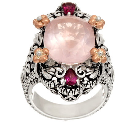 Barbara Bixby Sterling & 18K 8.80 cttw Rose Quartz & Rhodolite Ring