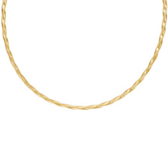 "Vicenza Gold 16"" Woven Twisted Omega Necklace, 14K - J324710"