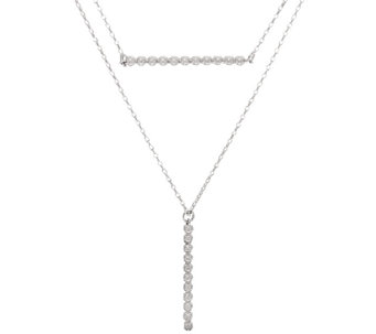 Vicenza Silver Sterling Double Layer Bead Necklace - J325810
