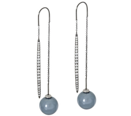 Diamonique Stick Threader Earring w/ Simulated Pearl, Sterling