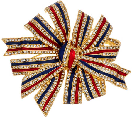 Joan Rivers Patriotic Enamel & Crystal Bow Pin