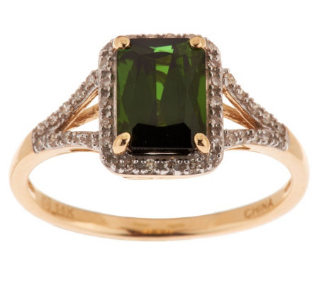 """As Is"" 1.25 cts. Green Tourmaline & Diamond Ring 14K Gold"