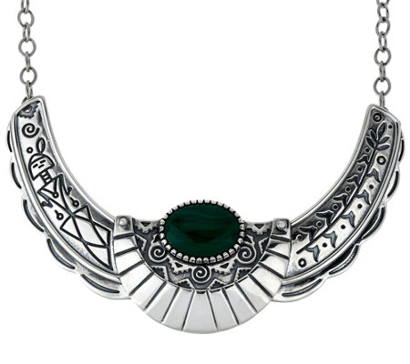 Fritz Casuse Sterling Silver & Malachite Harvest Moon Necklace