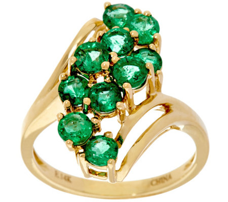 Zambian Emerald Elongated Waterfall Design Ring 14K, 1.50 cttw