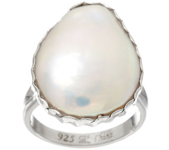 Honora 16.0mm Flat Baroque Cultured Pearl Sterling Ring - J330310