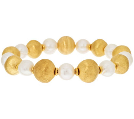"""As Is"" Veronese 18K Clad Cultured Pearl & Satin Bead Bracelet"