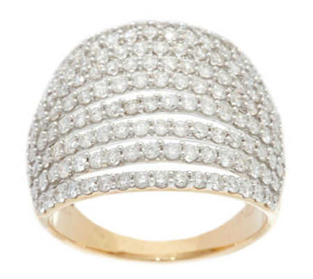 Pave' Diamond Multi-Row Band Ring, 14K, 2.00 cttw, by Affinity