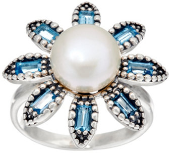 Sterling Silver Cultured Pearl & Gemstone Flower Ring by Or Paz - J333410