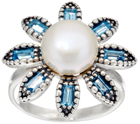 Sterling Silver Cultured Pearl & Gemstone Flower Ring by Or Paz