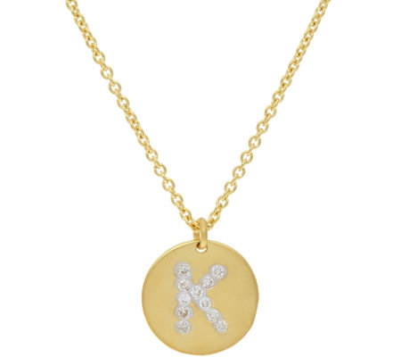 La Soula for Affinity Diamond Initial Pendant w/Chain 14K Plated