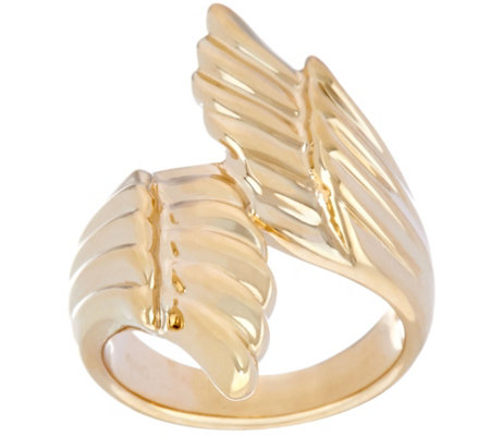 14K Gold Polished Angel Wings Bypass Design Ring