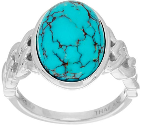 Oval Kingman Turquoise Sterling Silver Ring