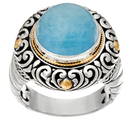 Artisan Crafted Sterling Silver & 18K Gold Gemstone Ring