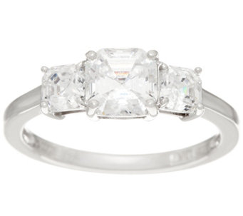 diamonique three stone ring sterling j347010 - Qvc Wedding Rings