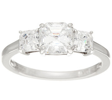 Diamonique Three Stone Ring, Sterling - J347010