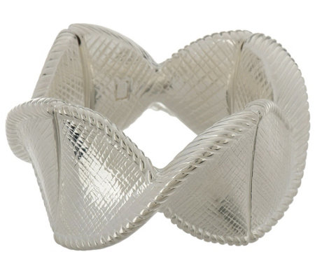 """As Is"" Paola Valentini Sterling Criss Cross Textured StretchBracelet"