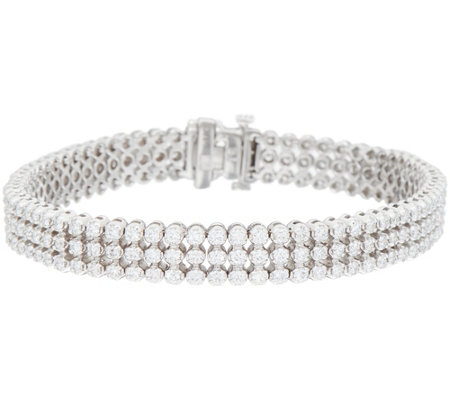 "4.00 cttw Triple Row 6-3/4"" Diamond Tennis Bracelet 14K, Affinity"