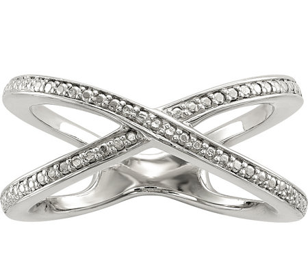 "Sterling Diamond Accent ""X"" Design Ring"