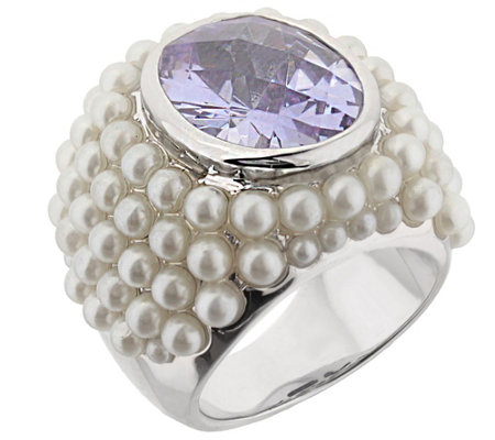 Lauren G Adams Silvertone Cultured Pearl Cluster Cocktail Ring