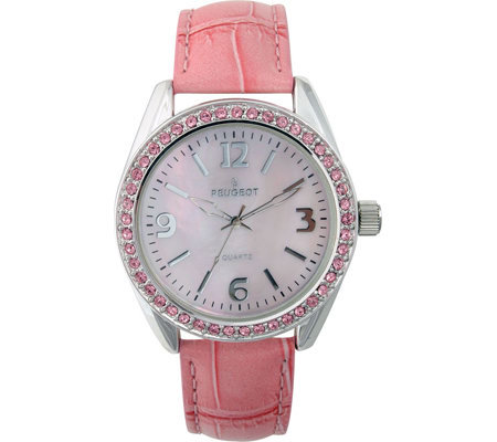 Peugeot Ladies Crystal Bezel Croco-Embossed Strap Watch