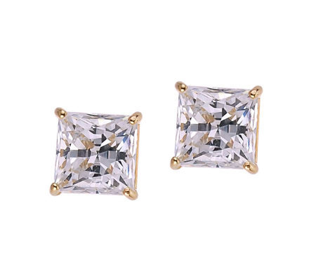 Diamonique 4.00 ct tw Princess Stud Earrings, 14K Gold