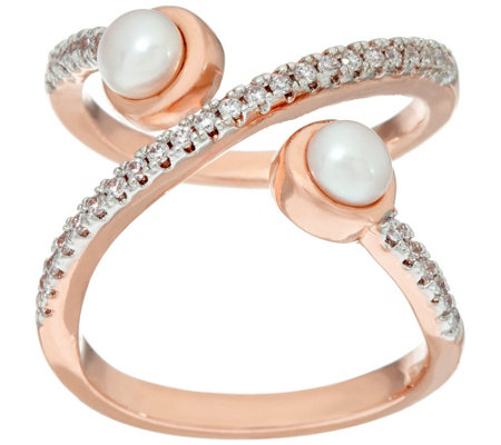 "Honora Cultured Pearl Crystal Open ""X"" Design Bronze Ring"