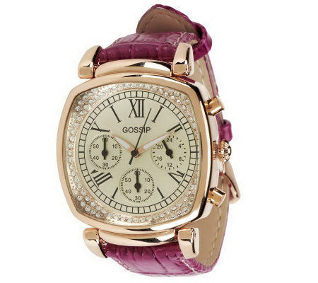 Gossip Rosetone Multi-Function Leather Strap Watch
