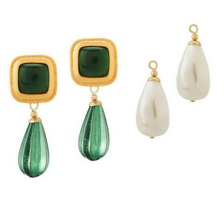 Linea by Louis Dell'Olio Changeable Drop Colorful Earrings
