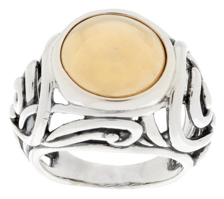 """As Is"" Carolyn Pollack Sterling and Brass Cabochon Scroll Ring"