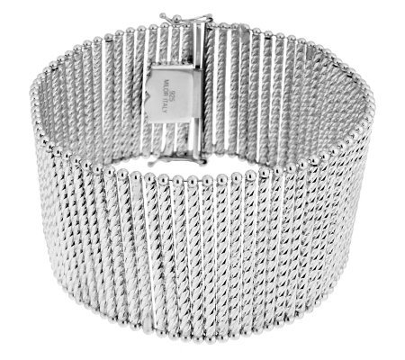 "Italian Silver Sterling 8"" Bold Diamond Cut Bar Station Bracelet, 39.5g"