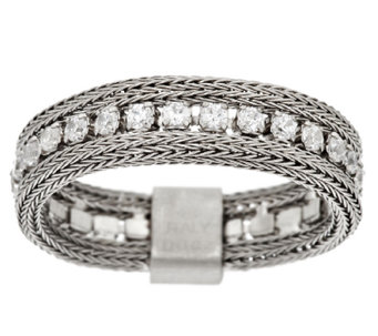 VicenzaSilver Sterling Woven Mesh Diamonique Band Ring - J292311
