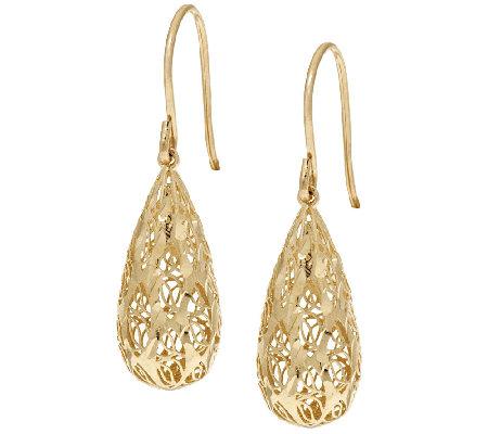 14k Gold Diamond Cut Filigree Design Teardrop Earrings