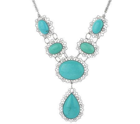 Bold Campitos Turquoise Sterling Lace Design Necklace