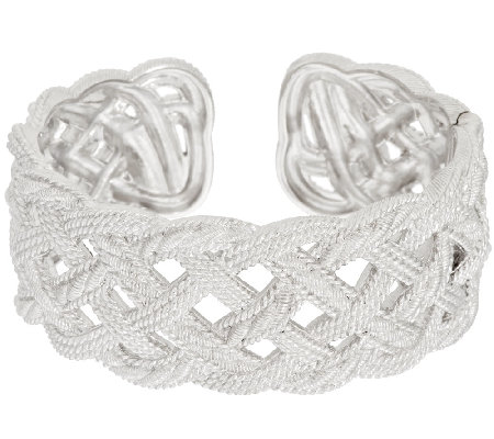 Judith Ripka Sterling Braided Berge Texture Hinged Cuff