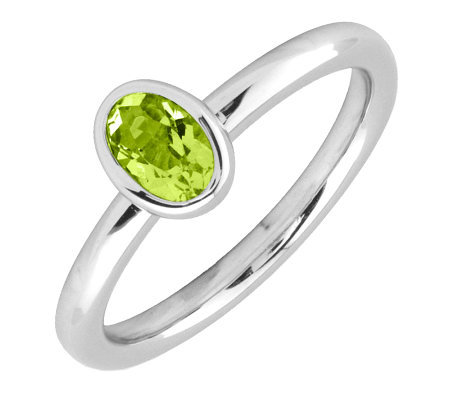 Simply Stacks Sterling & Oval Peridot Ring