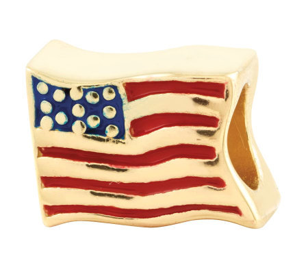 Prerogatives 14K Yellow Gold-Plated Sterling USA Flag Bead