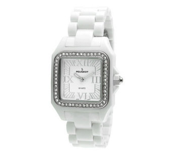 Peugeot Women's Swarovski Crystal Bezel White Acrylic Watch - J304111