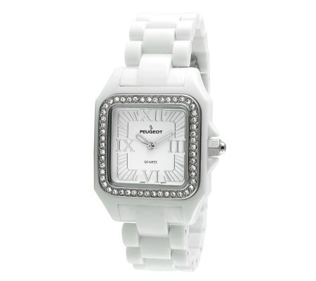 Peugeot Women's Swarovski Crystal Bezel White Acrylic Watch