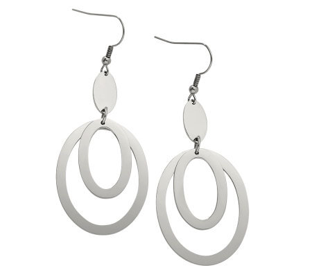 Stainless Steel Fancy Oval Dangle Earrings