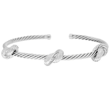 Vicenza Silver Sterling Textured Love Knot Station Cuff